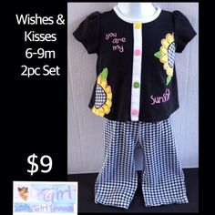 "Clearance Sale ONLY $6 Wishes & Kisses 6-9m Infant Girls ""You are my Sunshine"" 2pc Outfit Set.  Follow Baby Girl Heaven on Facebook"