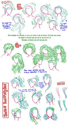 Ideas For Hair Tutorial Drawing Character Design Drawing Techniques, Drawing Tips, Drawing Sketches, Art Drawings, Sketching, Drawing Faces, Hair Reference, Art Reference Poses, Drawing Reference