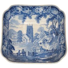 """Blue and White Transfer Bowl  England  circa 1840  Blue and White Transfer Bowl, England, circa 1840, """"Castle Wood"""" pattern, Maker unknown."""
