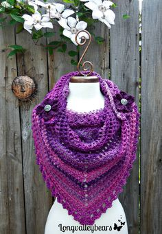Crochet Triangle Scarf / Shawl by longvalleybears, So soft and light weight for these cool summer nights. #longvalleybears #yarn #crochet