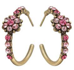Michal Negrin Hoop Earrings Ornate w Pink Crystals Flower Handmade in Israel
