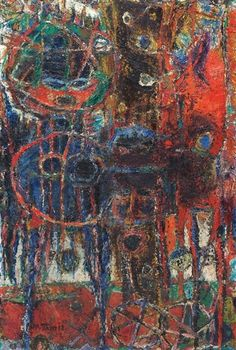 Moshe Tamir - Figures (1963),  oil on canvas 81x54 cm