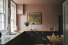 Yellow Kitchen Dark Cabinets - these are Farrow & Ball S Must Have Colours for 2019 -  these are farrow & ball s must have colours for 2019 fresh kitchen trends that will be huge in 2019 zellige tile backsplash green cabinets . Dark Kitchen Cabinets, Kitchen Units, Painting Kitchen Cabinets, Pink Kitchen Walls, Shaker Kitchen, Black Cabinets, Wall Cabinets, Red Kitchen, Farrow Ball