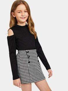 Girls Cold Shoulder Rib-Knit Tee And Houndstooth Skirt Set - Outfits for mia - Kids Outfit Teenage Girl Outfits, Kids Outfits Girls, Cute Girl Outfits, Girls Fashion Clothes, Tween Fashion, Cute Outfits For Kids, Teen Fashion Outfits, Cool Outfits, Girl Fashion