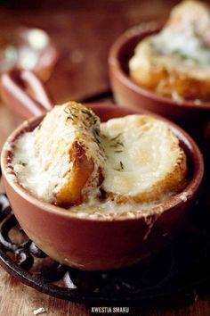 Zupa cebulowa | Kwestia Smaku Fondue, Food And Drink, Cheese, Dinner, Ethnic Recipes, Dining, Food Dinners, Dinners