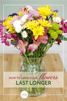 Fresh flowers add instant cheer to any home or office! Find out how to make your own homemade flower food to keep them looking their best!
