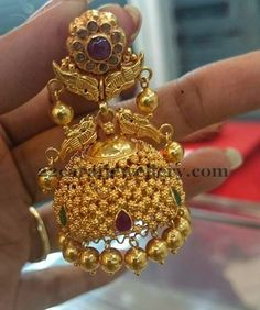 Jewellery Designs: Antique Rich Spinel Jhumka