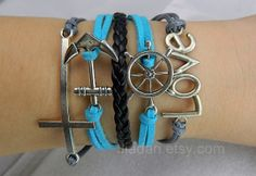 Bracelet  dark blue and gray combination ancient silver by Jiadan, $10.99