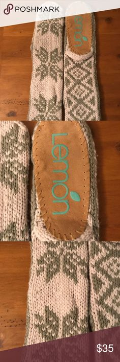 LEMON Knit Mukluks LEMON Knit Mukluks. OS, Excellent condition! Never worn. Faint Pink and Grey. Snowflake patterns on front, diamond pattern on back. Single tassel on each Mukluk. Bottom has brown soles. Perfect for wearing around the house! ☺️ Lemon Shoes Slippers