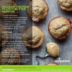 Isagenix PB Banana Muffins #wheyprotein #isagenix www.jamestrudell.isagenix.com