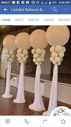 Gorgeous Jumbo Balloon columns with draping- we can use these at the head table . Gorgeous Jumbo Balloon columns with draping- we can use these at the head table and/or room entrance- AMBC Wedding Balloon Decorations, Wedding Balloons, Birthday Decorations, Wedding Centerpieces, Wedding Table, Table Decorations, Table Centerpieces, Masquerade Centerpieces, Centerpiece Ideas