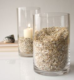 Seashells by the seashore and in your home. Create your own crushed seashell centerpieces. Select a large clear glass container – vase, bowl, or tray.
