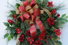 Beautiful Christmas Wreath with Crimson flowers