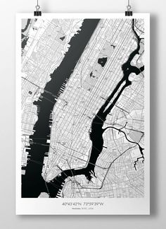 """Manhattan Map Poster BW 24""""x36"""" - New York City via The Map Crafter. Click on the image to see more!"""