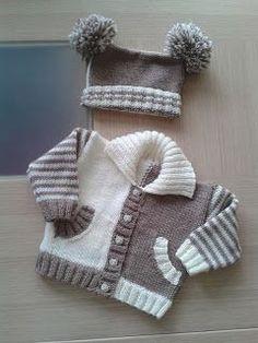 "Baby Knitting Patterns Sweter Too cute [ ""Fun color combo Knitting Patterns Boys, Knitting For Kids, Crochet For Kids, Baby Patterns, Free Knitting, Crochet Baby, Knitting Projects, Knit Crochet, Baby Sweater Patterns"