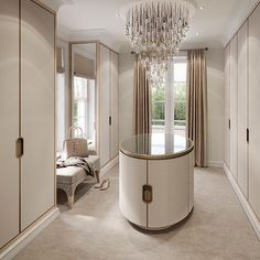 Dressing room of dreams at our Surrey project with antique brass trimmed…