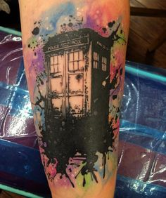 Watercolor TARDIS Doctor Who tattoo by Austin Taylor done at All Saints Tattoo on the planet of Gallifrey. (at All Saints Tattoo)