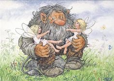 A kindly troll watching over some fairies, who decide to play with his beard! Aww. (Artist: Rolf Lidberg.)