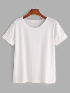 Camiseta básica de manga remangada - blanco -Spanish Romwe Sitio Móvil