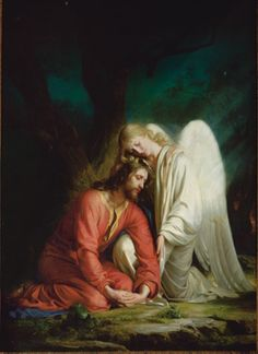 "Carl Bloch:  Christ in Gethsemane.  ""The angel tenderly and compassionately embraces the Savior as He takes upon Himself the sins and infirmities of all mankind."""