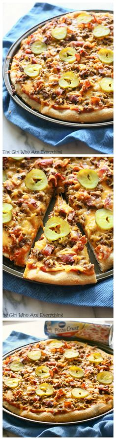 Bacon Cheeseburger Pizza - all of your favorite cheeseburger fixings on a pizza. the-girl-who-ate-everything.com #PillsburyPizzaNight