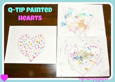 q-tip or cotton swab painted hearts a fun valentine craft for kids by FSPDT