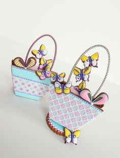 Butterfly Cookie Baskets with Needlepoint Detail by Julia M. Usher, www.juliausher.com