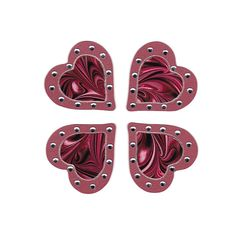 Red Swirl Crystal Heart Stickers