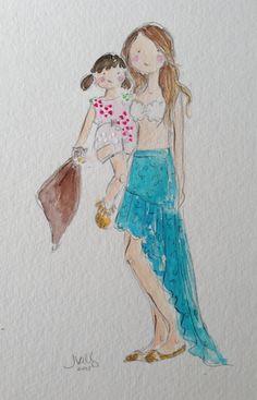 Custom mother & daughter watercolor. Jennifer Vallez.