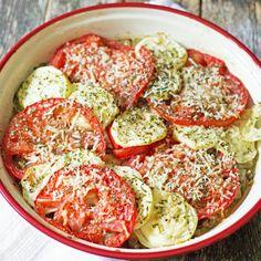 Zucchini, tomato, eggplant bake is a delicious recipe! Add in low-fat mozzarella and Parmesan Reggiano cheese makes a delicious meal! Super easy to prepare!