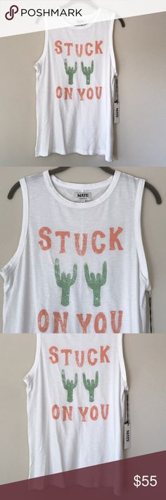 """Mate Mate sleeveless Tee in a size Medium/Large. """"Stuck on you"""" on the front in orange and green. Brand new with tags. Made in Los Angeles. Arm-holes are oversized for a comfy wear. Mate Tops Muscle Tees"""