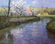 Frits Thaulow (Norwegian, Impressionism, 1847-1906): A French River Landscape. Pastel on paper. 63.5 x 76.2 cm (30 x 25 inches). Private Collection.
