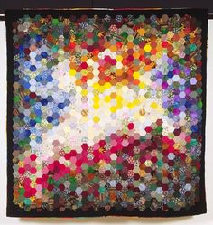 Autumn's Dance of Leaves by Janet Jo McIntosh 2003 (West Virginia).  A hexagon colorwash quilt.