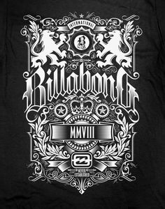 Billabong Crest Design by Nathan Matthews, via Behance (Bottle Sketch Behance) Vintage Typography, Typography Design, Shirt Print Design, Shirt Designs, Quiksilver Wallpaper, Typography Inspiration, Design Inspiration, Design Art, Logo Design