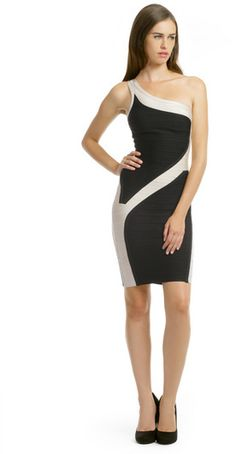 Black and White Fashion. Hervé Léger Cyclone Dress