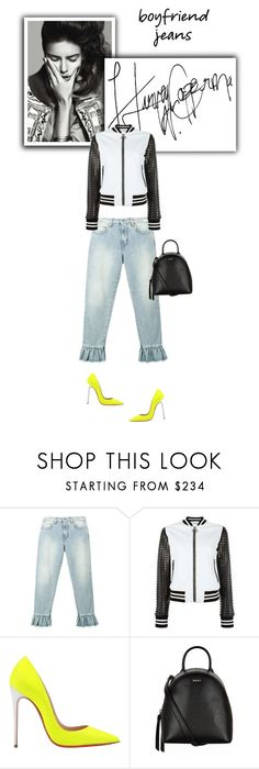 """""""I love my boyfriend jeans!"""" by cinnamonrose30 ❤ liked on Polyvore featuring MSGM, Philipp Plein, Christian Louboutin and DKNY"""