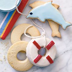 Learn how to make Coastal Cutout Cookies. MyRecipes has tested recipes and videos to help you be a better cook. Cut Out Cookie Recipe, Cut Out Cookies, Sugar Cookies, Cookies Et Biscuits, Cookie Recipes, Bar Recipes, Cookie Ideas, Best Holiday Cookies, Christmas Cookies