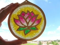 Lotus Suncatcher Lotus flower sun catcher Czech glass beads