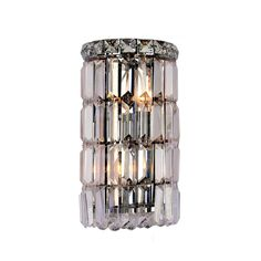 WorldWide Lighting W23510C6 Cascade Contemporary Style 2 Bulbs Round Shape Wall Sconces With Clear Crystal In Polished Chrome is made by the brand WorldWide Lighting and is a member of the Cascade collection. It has a part number of W23510C6.