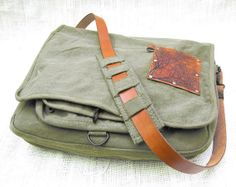 canvas messenger bag with leather accents - olive green. Would make a great artist bag. Check out the inside!