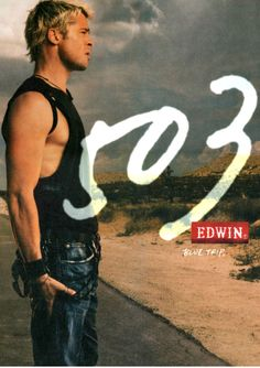 "Brad Pitt. So young wearing ""edwins"" haha"