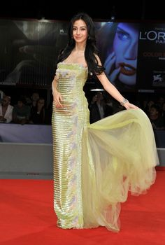 """Angelababy in Georges Chakra Couture - """"Tai Chi O"""" Premiere - The 69th Venice Film Festival"""
