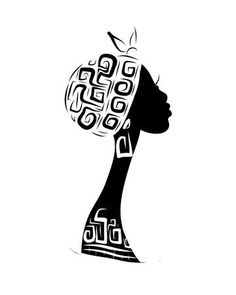 Female head silhouette for your design, ethnic ornament African Art Paintings, Easy Paintings, Female Head, Female Art, Africa Drawing, Tiki Tattoo, Egypt Tattoo, Small Rangoli Design, Silhouette Images