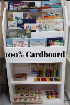 out of waste A bookshelf that is entirely made from cardboard.A bookshelf that is entirely made from cardboard. Cardboard Organizer, Diy Cardboard Furniture, Cardboard Storage, Cardboard Box Crafts, Cardboard Display, Cardboard Toys, Cardboard Playhouse, Plywood Furniture, Baby Bookshelf