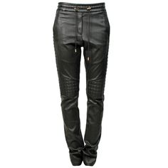 Black leather pants with elasticated, drawstring waist. Relaxed fit. Side slit pockets, back patch pockets. Lined. 100% Lamb leather. Lining 95% cotton, 5% ela…