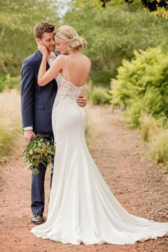 Fit-and-flare#weddingdress - lace wedding dress with illusion back and thin straps. Style D2396 Essense of Australia. See more wedding dress inspo on WeddingWire!