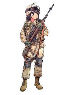 Anime girls with guns part Anime Military, Military Women, Fantasy Comics, Anime Fantasy, Guerra Anime, Character Art, Character Design, Military Drawings, Anime Weapons