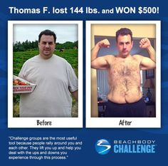"""::07/02/13:: Thomas is the first to admit his transformation is still a """"work in progress,"""" but we want to recognize how far he's come on his #BeachbodyChallenge journey with today's Daily Prize. Keep pushing play, dude! you're #CrushingIt! REPIN and LIKE to give him two thumbs up!"""