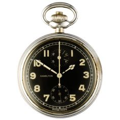 pocket watch made for the US Army Air Forces.  It was paired with the US Navy Model IV Octant, an aircraft Sextant introduced in 1941. See the Life Magazine advertisement the Model 23 clipped to the side of the Octant.  The watch second hand is at 6 o'clock position. The Chronograph big central seconds hand and the register at 12 o'clock records up to 30 minutes.  You push the button on the pendant to start/stop the Chronograph, pushing it a third time will reset the hands to zero.