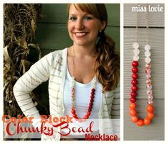 Color Block Chunky Bead Necklace tutorial from Miss Lovie via @30daysblog.
